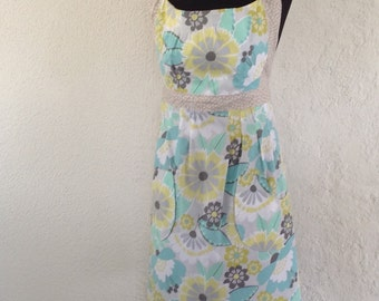 full apron, long apron, cooking apron with pockets - floral apron