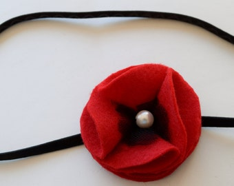 Elastic Headband with Red Felt Poppy