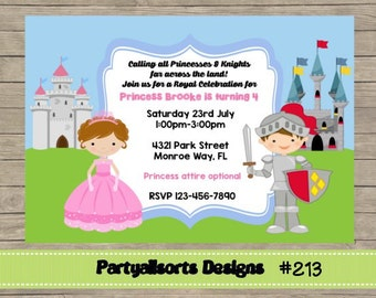 213 DIY -Princess and Knight  Party Invitations Cards.