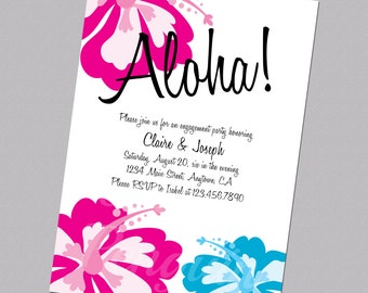 Hawaiian Engagement Invitation, Engaged Invite, Digital Invitation, Aloha Invitation, Hawaiian Wedding Invite, Hibiscus Engagement Invite