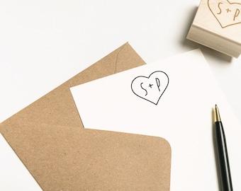 Monogram Stamp, Custom Heart Stamp, Personalized Monogram Stamp, Rubber Stamp, Calligraphy Stamp, Self-Inking Wedding Stamp, (SMONO100)