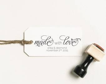 Made with Love Favor Stamp, Made with Love Stamp, DIY Favor Stamp, Personalized Stamp, Favor Stamp DIY Wedding Rubber Stamp (SMAIL301 - S.1)
