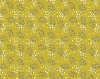 Sprigs floral fabric in Chartreuse from the Wildflowers Collection by Alisse Courter for Camelot Fabrics #2240206-2