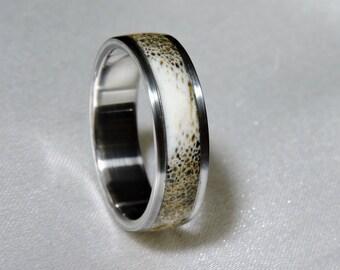 Titanium and Antler Ring, Ring Armor, Mens Antler Ring,Womens Wedding Ring,