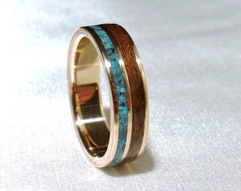 Bronze ring, Turquoise and Walnut inlay, Ring Armor,