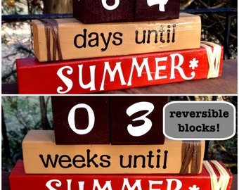 COUNTDOWN TO SUMMER! Reversible wood word stacking block set for home and office decor...