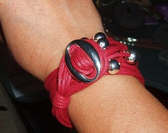 Waxed cord bracelet, various colors.  Double turn or sy various beads