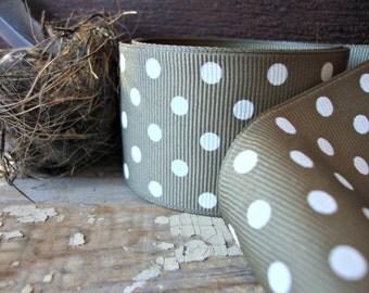 Olive Green and White Polka Dot Grosgrain Ribbon