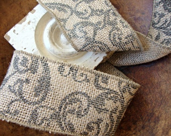 Rustic Jute Wired Burlap Ribbon with Black Scroll Print