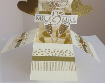 Handmade Wedding card in a box, golden theme Wedding pop up card