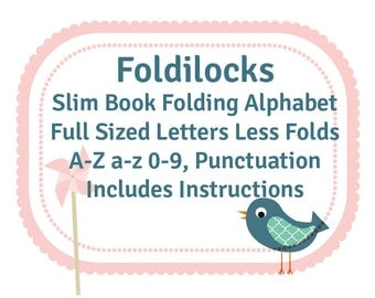 Slim (full size height) Alphabet Pattern- Make longer words, names or dates. Now includes a heart. PDF Book Folding Folded Book Art