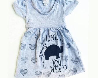 Love is all you need infant dress,  elephant dress, heart dress, Beatles dress