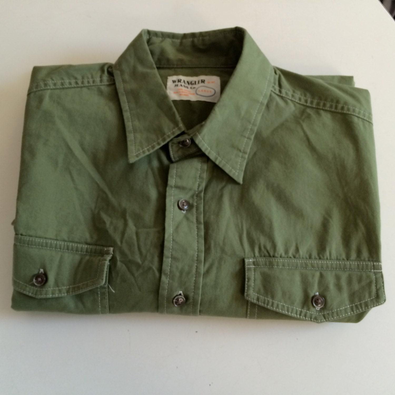 Vintage wrangler cotton shirt button up army green for Cotton button up shirt