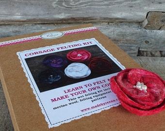 Wet Felting Kit, Corsage Felting Kit, Make Your Own Corsage, Flower Felting Kit