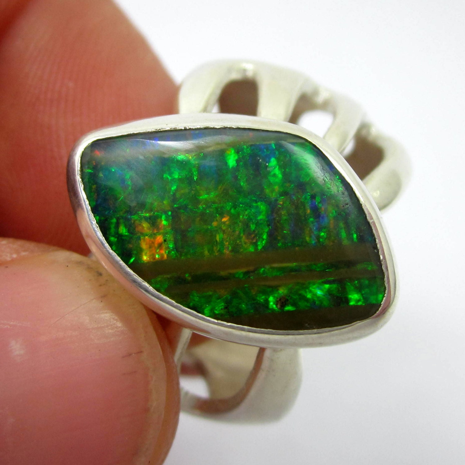 Black Opal Ring Fire Opal Ring Men S Opal By Leviathanjewelry