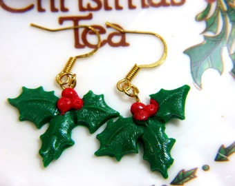 Christmas Earrings, Red and Green Earrings, Holly Earrings, Mistletoe Earrings, Xmas Earrings, Christmas Jewelry, Xmas Jewelry