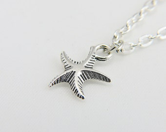 Silver Star fish Necklace, Star fish Jewelry, Star fish Necklace,  Antiqued Star fish Necklace,  Handmade Jewelry