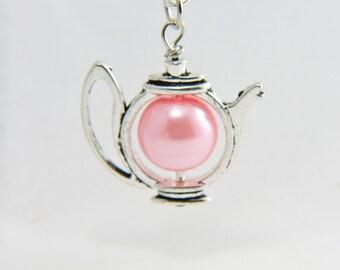 Teapot Pearl Necklace, Teapot Necklace, Teapot Charm, Silver Teapot Necklace, Pearl Teapot Necklace