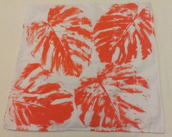 Orange Leaf Print Envelope Pillow Cushion Cover Only Handmade Home Decor