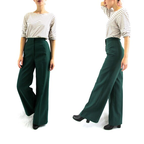 XS Vintage High Waisted Dark Green Wide Leg Pants 70s Forest