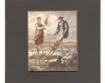 The Stilt Walkers Antique Engraving