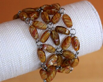 Amber Glass Bead Statement Bracelet