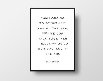 Bram Stoker, Dracula, Typographic Art, Quote Art, Etsy UK Seller, Dracula Quote, Book Quote, Romantic Quote, Castles in the air