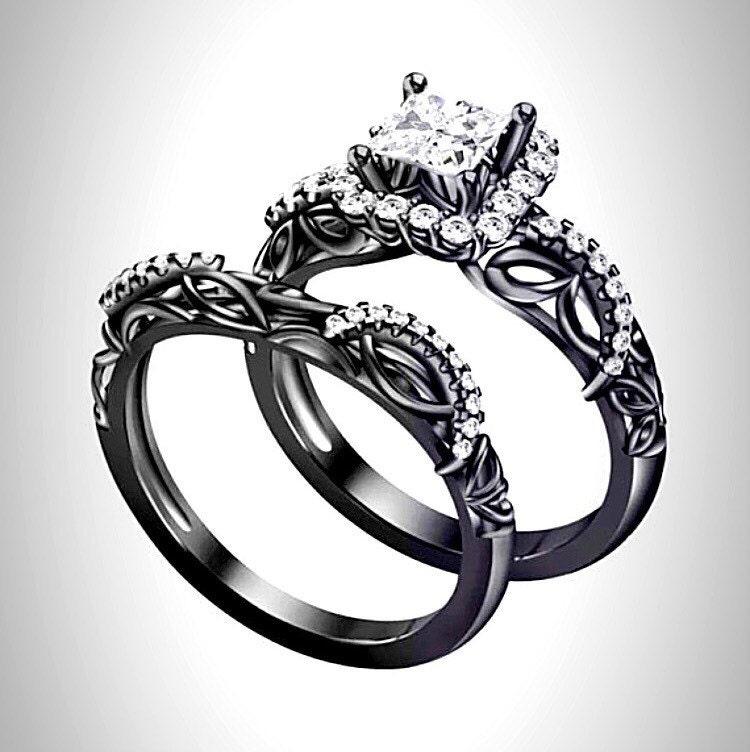 Black Rhodium Silver Princess Engagement Ring Set By RazosRingShop