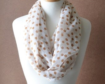 ON SALE - Polka Dots Infinity Scarf - Ivory and Brown Scarf