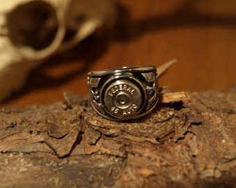 """Handmade Stainless Steel """"45 Auto  Bullet Ring"""" with Eagles on each side."""