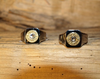 "Handmade Stainless Steel ""Brass 357  Bullet Ring"""