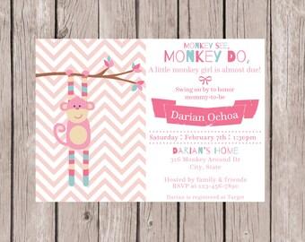 PRINTABLE- Monkey Baby Shower Invite- Stripe Monkey Baby Shower Invite- Monkey Shower Invite- Baby Shower Invite- 5x7 JPG
