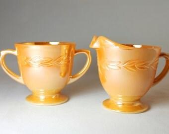 Peach Lustre Fire King Sugar Creamer Set Vintage Iridescent
