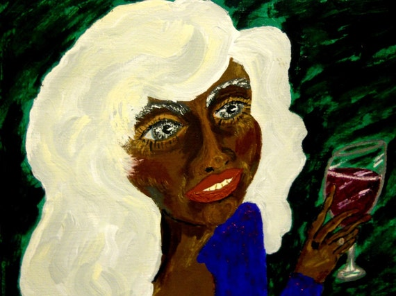 PAM Acrylic Painting women of color Original Art black art black woman white hair African American Artist Stacey Torres wine 11x14