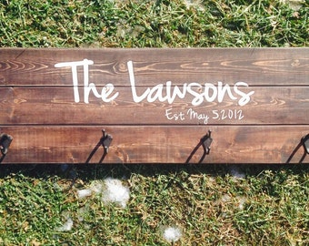 "Rustic/Modern Personalized , Coat Rack, Vintage , Personalize , Customized , 4 hooks , Great Price , ""10.5X36"""