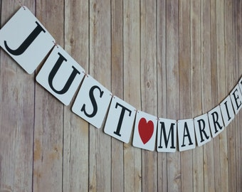 Just Married Banner, Just Married Sign, Just Married Announcement, Just Married Photo Prop, Die Cut Letters and Heart