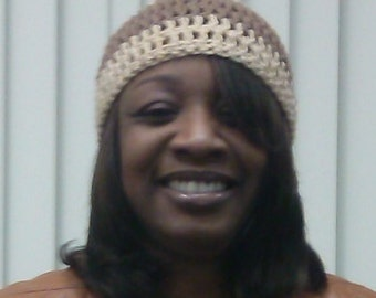 beige and tan crocheted hat