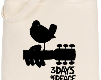 Woodstock Tote Bag, Tote Bag Shopping Bag Shoulder Bag, 100% Cotton Tote Bag
