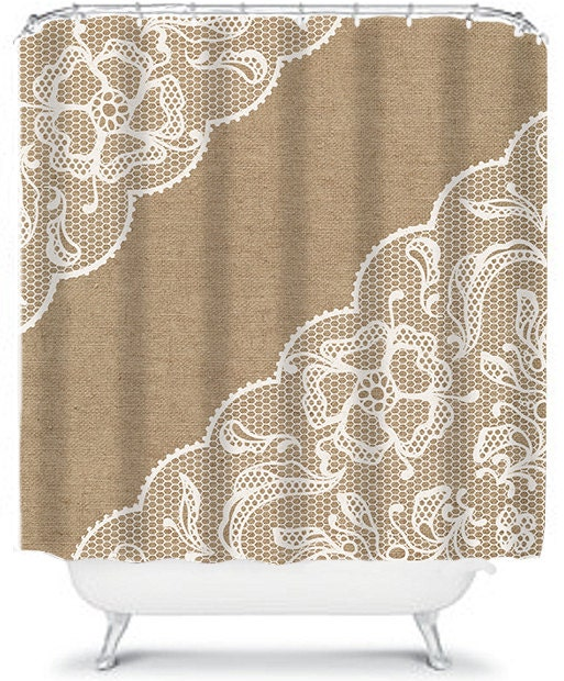 Beautiful Burlap Shower Curtain Lace Shower by xOnceUponADesignx