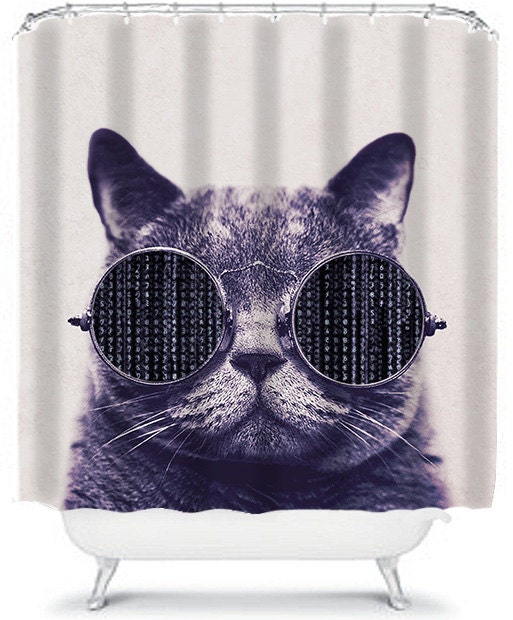 Shower Curtain Hipster Cat With Glasses Bathroom Decor Home