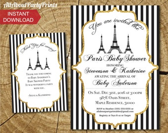 INSTANT DOWNLOAD- Paris themed Baby Shower Invitation Printable-digital invitation-PDF format