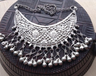 RashAida, Danakil/Eritrea,Djibouti vintage good silver wedding Cressent shaped breastplate.Broque, Boho Necklace