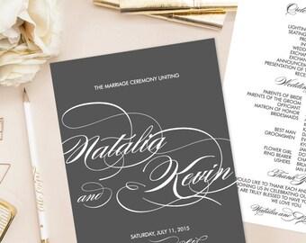 Natalia Printable Wedding Program/or Paddle Fan (DIY Program),  Script Elegance Program - Customizable text and colors