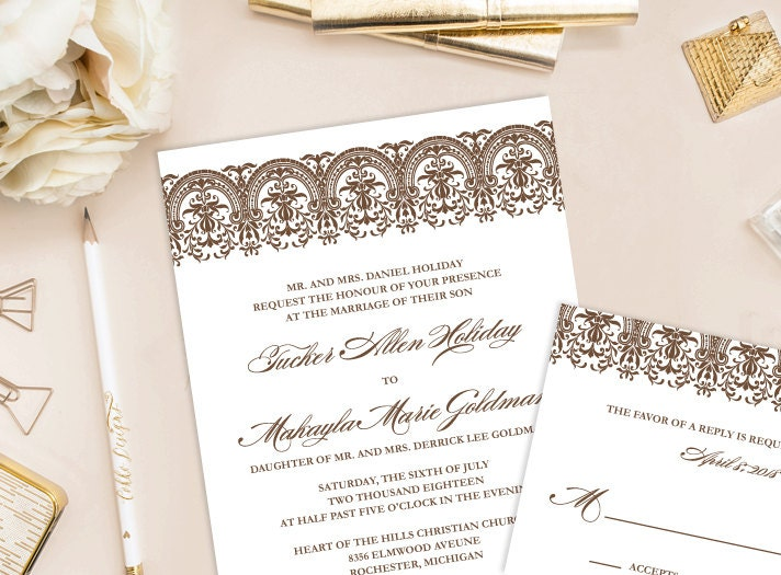 Makayla Printable Wedding Invitation DIY Invitation Vintage Lace Invitatio