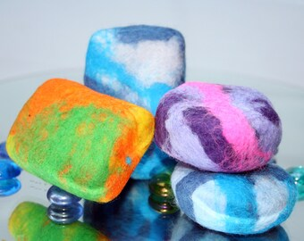 Fun and Funky Merino Wool Wrapped Soap - a natural soap and washcloth in one.