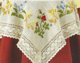 Hand Embroidered Floral Table Topper, Table Cloth,  Bright Color Flowers and Roses with Elegant Lace Trim