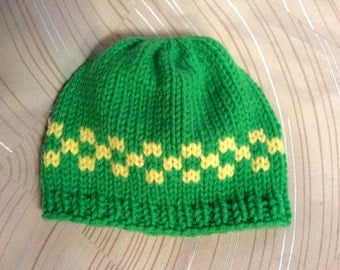 Baby hat, green and yellow baby hat with Design, newborn baby hat, hand knit and machine knit, acrylic yarn , babies first hat,  infant hat