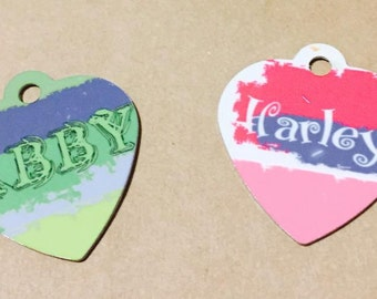 Heart Shaped Pet Tags, Personalizable with Your pets name