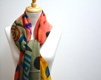Silk and Wool Scarf / Colourful Scarf / Geometric Scarf / Elegant Scarf / Winter Scarf