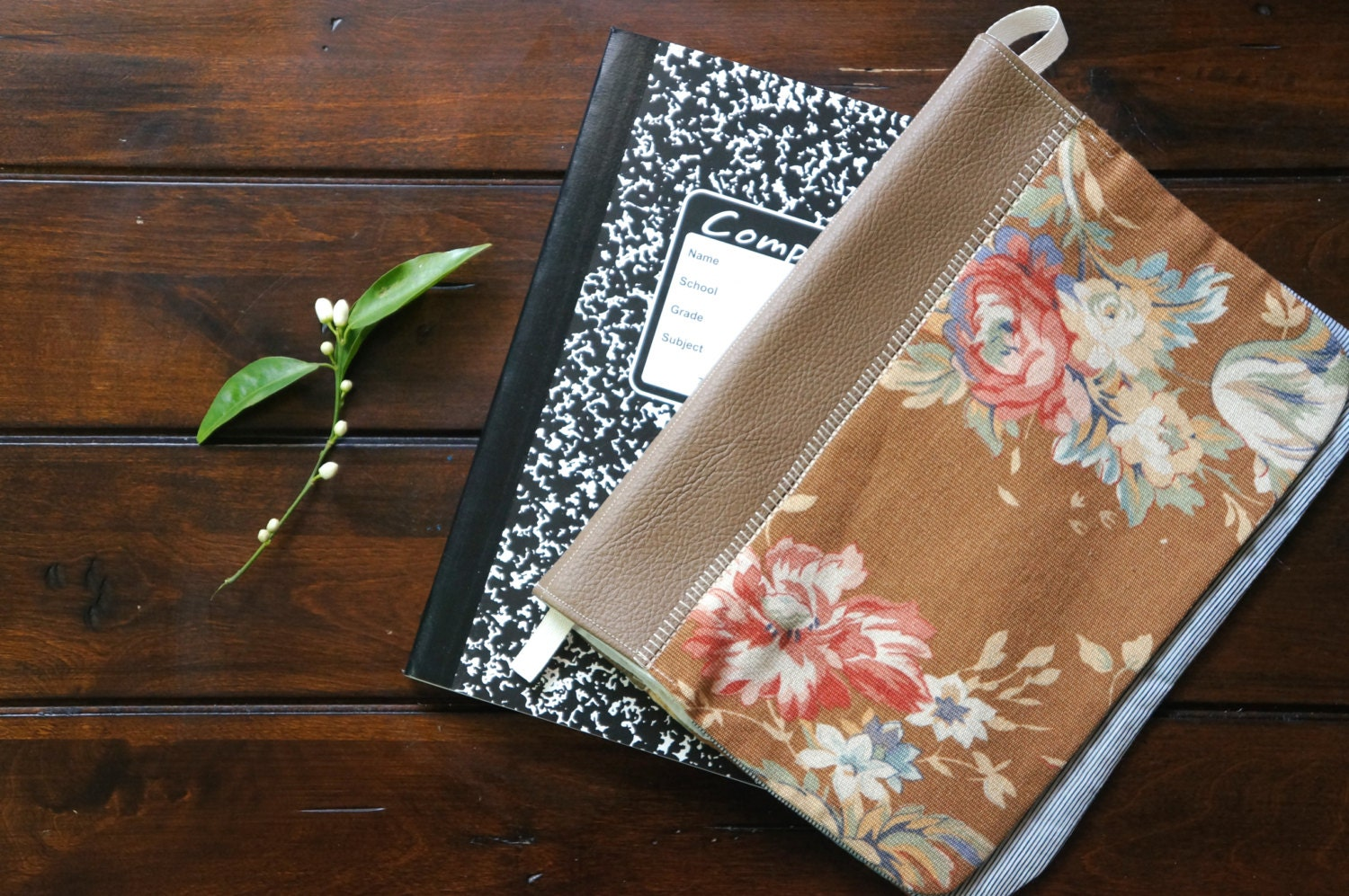 Fabric Cover For Composition Book ~ Fabric cover for composition notebook vinyl spine by